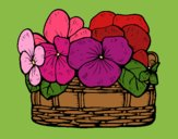Coloring page Basket of flowers 12 painted byJennifer