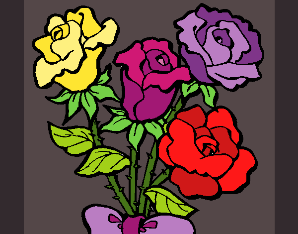 Coloring page Bunch of roses painted byKArenLee