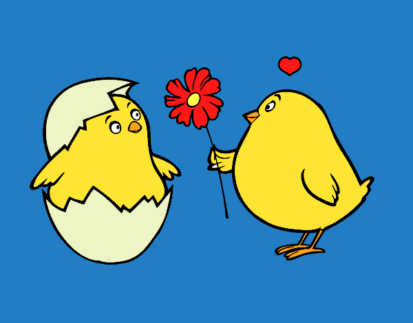 Coloring page Chicks in love painted byKArenLee