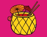 Coloring page Cocktail pineapple painted byJennifer
