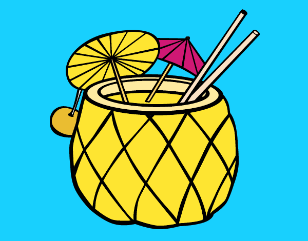 Coloring page Cocktail pineapple painted byKArenLee
