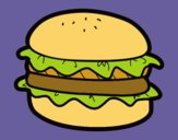 Coloring page Hamburger with lettuce painted byKArenLee
