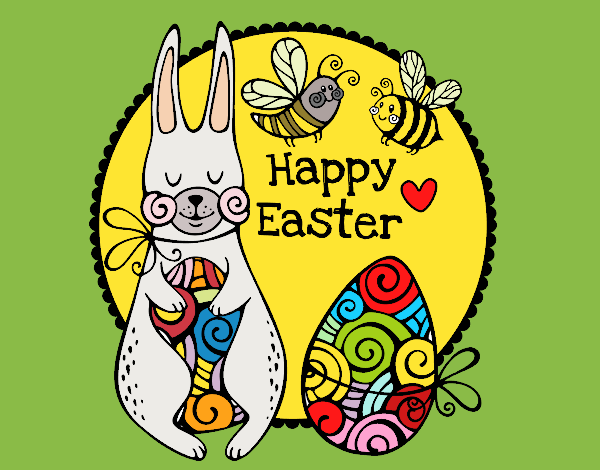 Coloring page Happy Easter Card painted byKArenLee