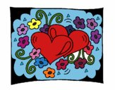 Coloring page Hearts and flowers painted byJennifer