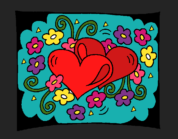 Coloring page Hearts and flowers painted byKArenLee