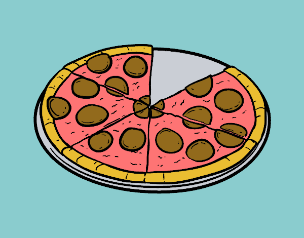 Coloring page Italian pizza painted byKArenLee