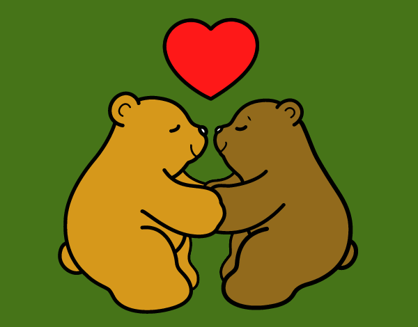 Coloring page Polar Bears in love painted byKArenLee
