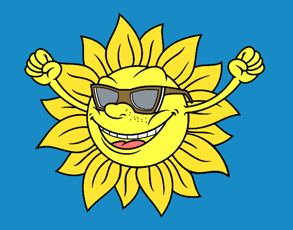 Coloring page The sun with sunglasses painted byKArenLee