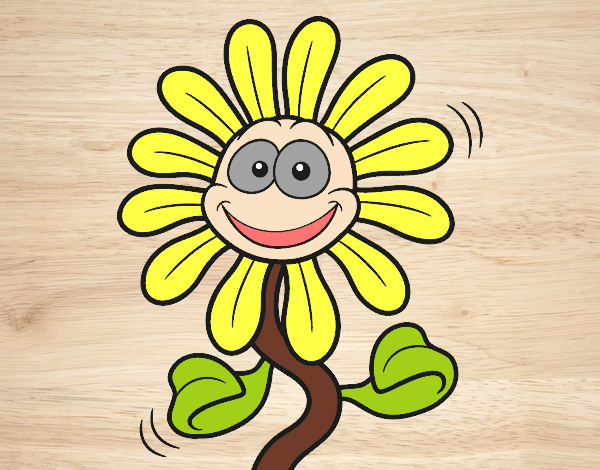 Colored page sun flower is happy painted by user not for Cheerful nature