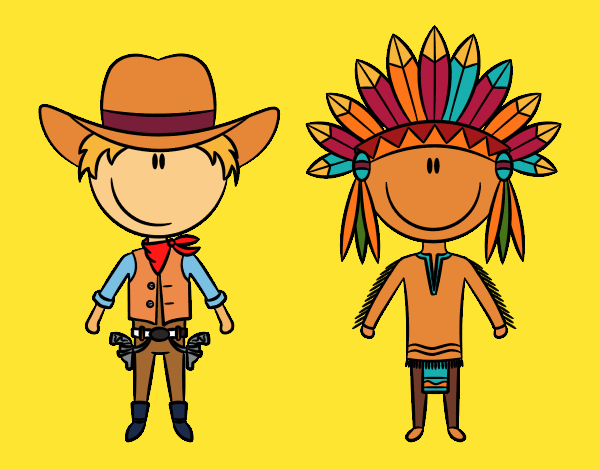 Happy cowboy and Indian