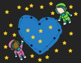 Coloring page Love in the space painted byCharlotte