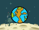 Coloring page The planet Earth painted byvaishu