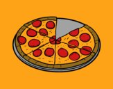 Coloring page Italian pizza painted byCharlotte