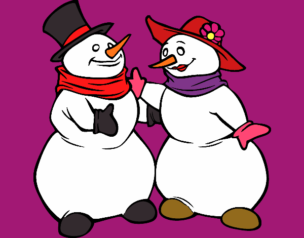 Coloring page Couple of Snowmen painted byKota