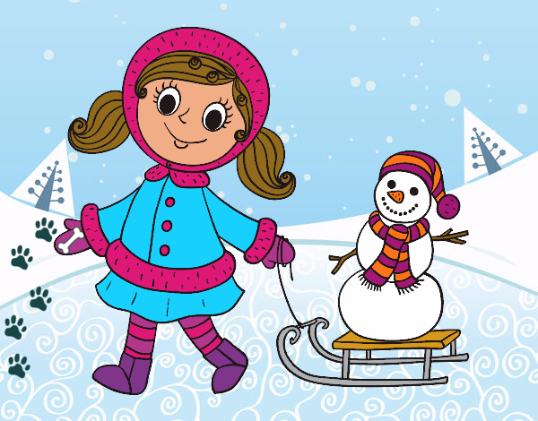 Coloring page Little girl with sleigh and snowman painted byKota