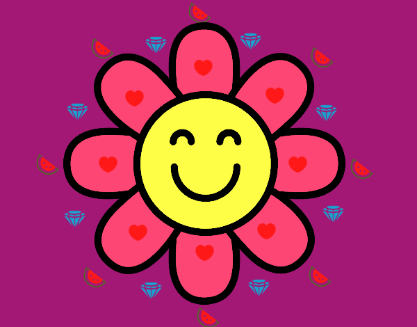 Coloring page Simple flower painted byKota