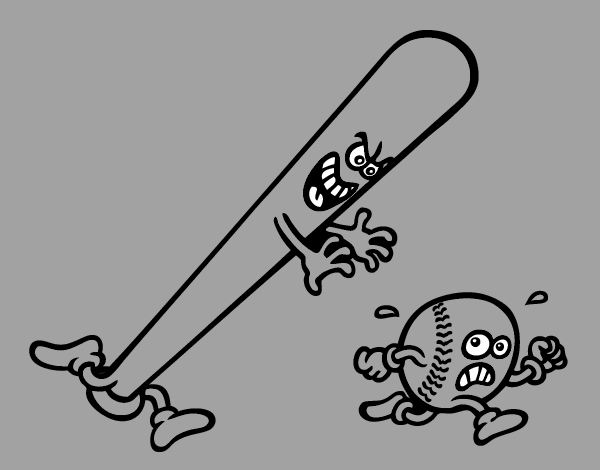 Colored Page Baseball Bat Chasing A Ball Painted By User