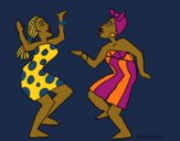 Coloring page Dancing women painted byCharlotte