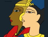 Coloring page Ramses and Nefertiti painted byCharlotte