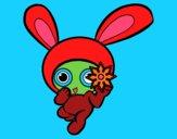 Coloring page Ninja rabbit painted bymindella