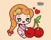 Coloring page Sweet Cherries painted byGeorgi
