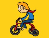 Coloring page Boy in tricycle painted bymindella