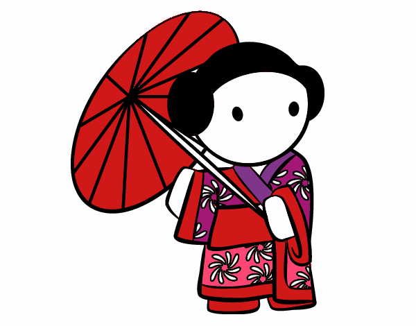 Geisha with lady's umbrella