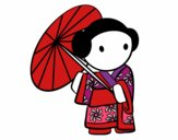 Coloring page Geisha with lady's umbrella painted bymindella
