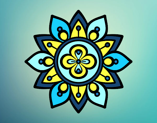 Coloring page Mandala lotus flower painted byAnia