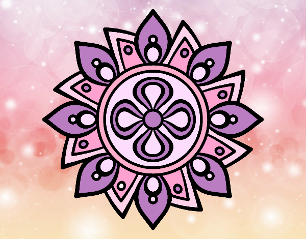 Coloring page Mandala simple flower painted byAnia