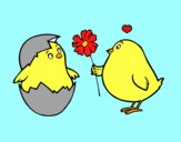 Coloring page Chicks in love painted byAish
