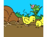 Coloring page Hen and chicks painted byAnia