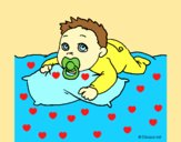 Coloring page Baby playing painted byAnia