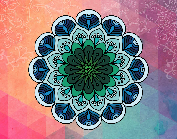 Coloring page Mandala flower and sheets painted byTaylor