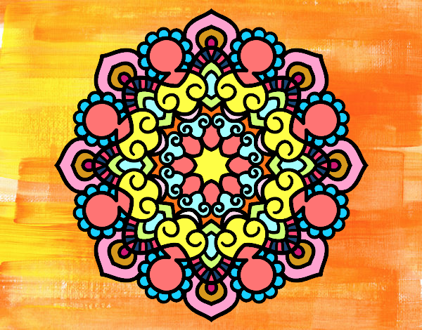 Coloring page Mandala meeting painted byTaylor