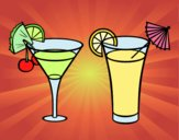 Coloring page Two cocktails painted byJijicream