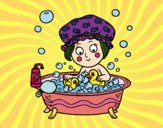 Coloring page Girl taking a bath painted byJijicream
