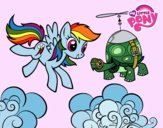 Coloring page Rainbow Dash and Tank Turtle painted byJijicream