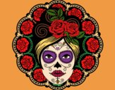 Coloring page Mexican skull female painted byAveta