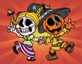 Wednesday and Jack-o-lantern