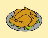 Coloring page Roasted chicken painted byAnia