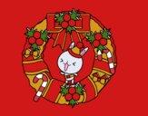 Christmas wreath and bunny