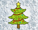 Coloring page Decorated Christmas tree painted bycolorido