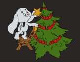 Rabbit decorating Christmas tree
