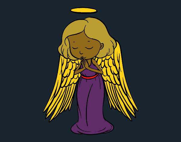 Coloring page An angel praying painted byCharlotte