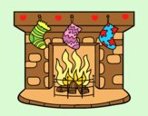 Coloring page Christmas chimney painted byAnia