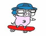 Graffiti the pig on a skateboard