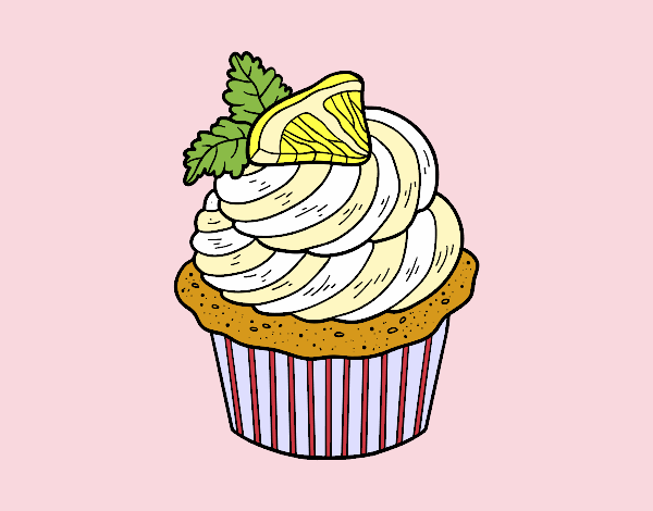 Coloring page Lemon cupcake painted bybarbie_kil
