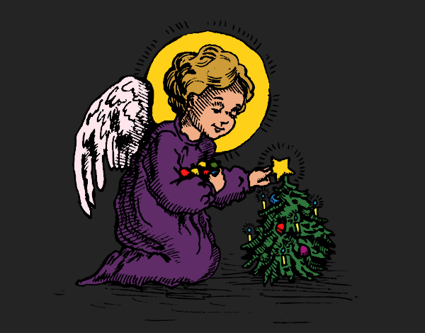 Coloring page Christmas Little angel painted byCharlotte
