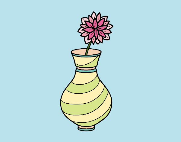 Coloring page Chrysanthemum in a vase painted bybarbie_kil